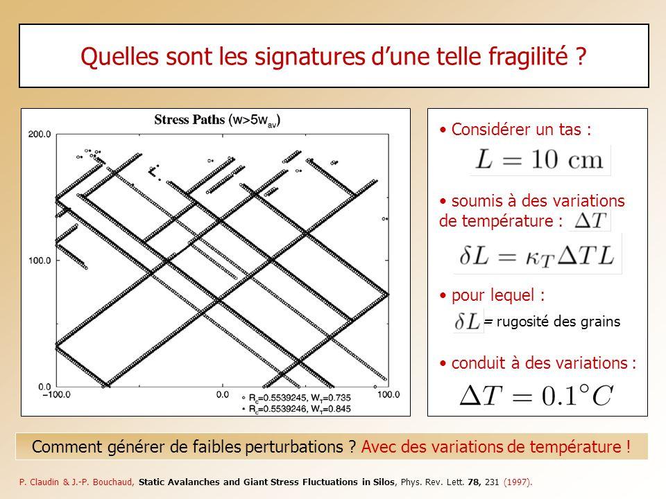 Quelles sont les signatures dune telle fragilité ? Comment générer de faibles perturbations ? Avec des variations de température ! P. Claudin & J.-P.