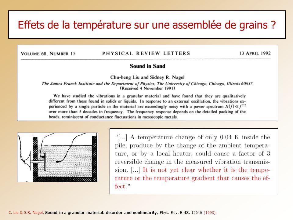 Effets de la température sur une assemblée de grains ? C. Liu & S.R. Nagel, Sound in a granular material: disorder and nonlinearity, Phys. Rev. B 48,