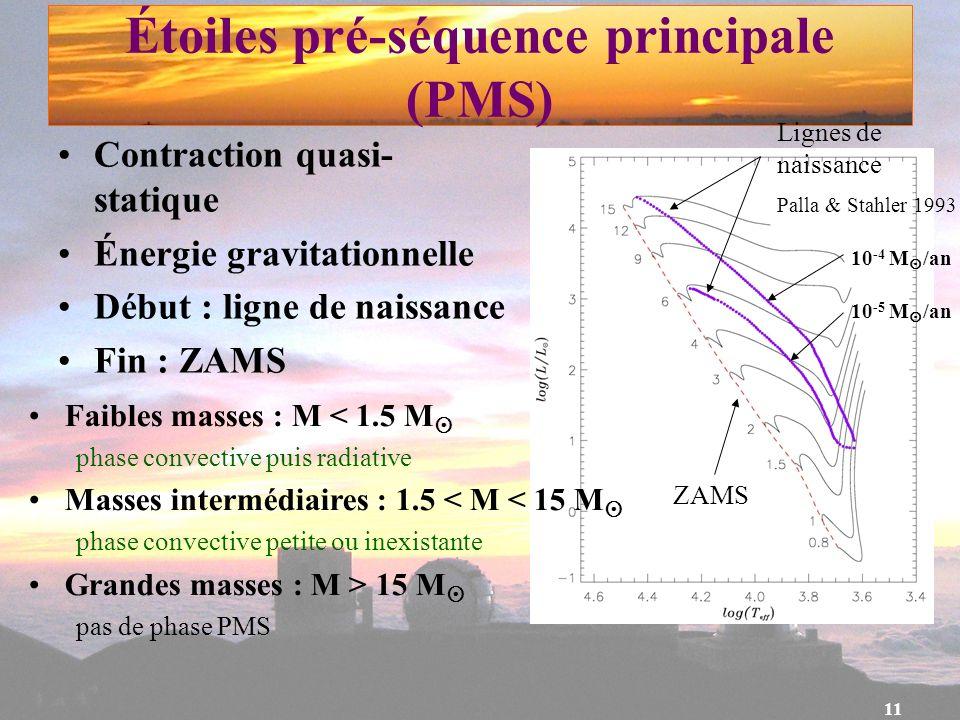 11 Étoiles pré-séquence principale (PMS) Contraction quasi- statique Énergie gravitationnelle Début : ligne de naissance Fin : ZAMS ZAMS Lignes de nai