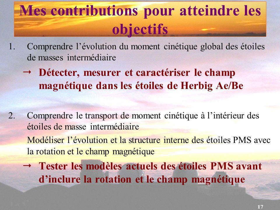 17 Mes contributions pour atteindre les objectifs 1.Comprendre lévolution du moment cinétique global des étoiles de masses intermédiaire Détecter, mes