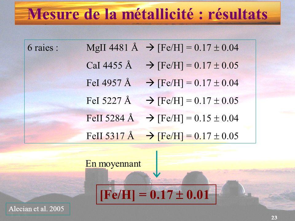 23 Mesure de la métallicité : résultats 6 raies : MgII 4481 Å [Fe/H] = 0.17 0.04 CaI 4455 Å [Fe/H] = 0.17 0.05 FeI 4957 Å [Fe/H] = 0.17 0.04 FeI 5227