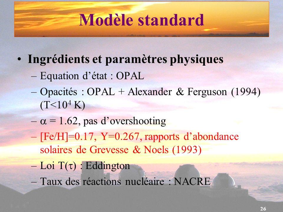 26 Modèle standard Ingrédients et paramètres physiques –Equation détat : OPAL –Opacités : OPAL + Alexander & Ferguson (1994) (T<10 4 K) – = 1.62, pas