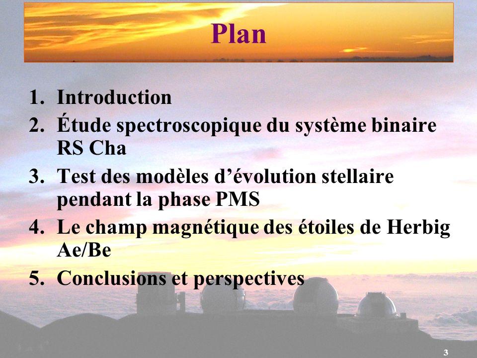 3 Plan 1.Introduction 2.Étude spectroscopique du système binaire RS Cha 3.Test des modèles dévolution stellaire pendant la phase PMS 4.Le champ magnét