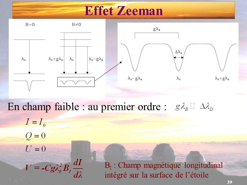 39 Effet Zeeman En champ faible : au premier ordre : B l : Champ magnétique longitudinal intégré sur la surface de létoile