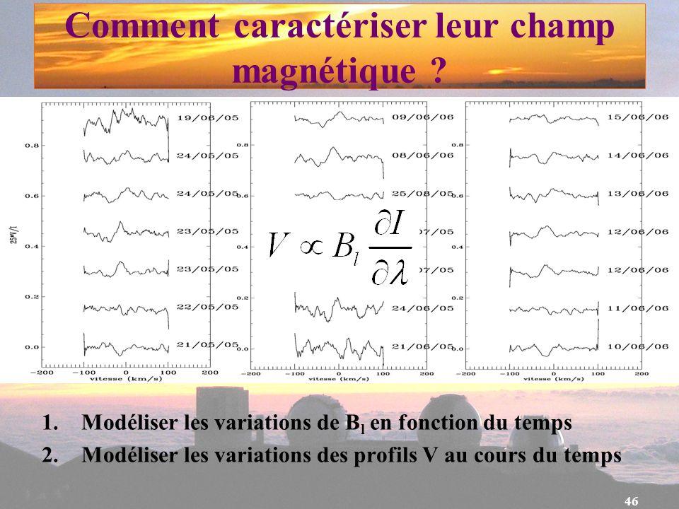 46 Comment caractériser leur champ magnétique ? 1. Modéliser les variations de B l en fonction du temps 2. Modéliser les variations des profils V au c