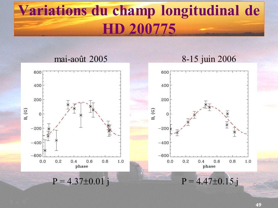 49 Variations du champ longitudinal de HD 200775 mai-août 2005 8-15 juin 2006 P = 4.47 0.15 jP = 4.37 0.01 j