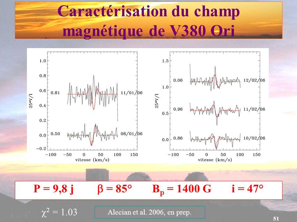 51 Caractérisation du champ magnétique de V380 Ori P = 9,8 j = 85° B p = 1400 G i = 47° 2 = 1.03 Alecian et al. 2006, en prep.