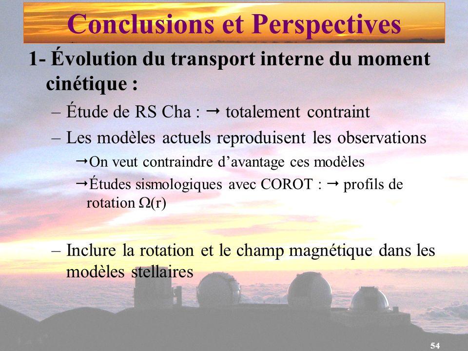 54 1- Évolution du transport interne du moment cinétique : –Étude de RS Cha : totalement contraint –Les modèles actuels reproduisent les observations