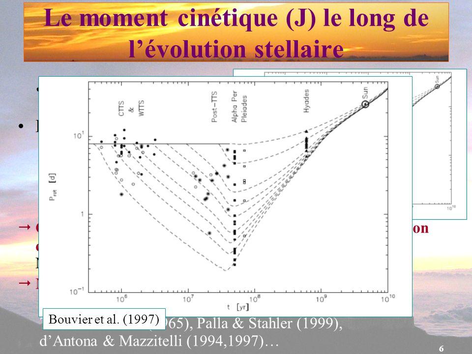 6 J dépend de la masse Les étoiles de faible masse : M < 1.5 M –J dépend fortement de lâge Couplage magnétique entre létoile et le disque daccrétion e