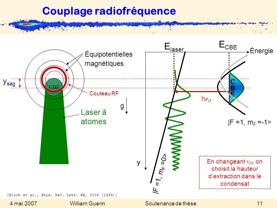 William Guerin 4 mai 2007Soutenance de thèse11 Laser à atomes |F =1, m F =-1> E CBE y sag g |F =1, m F =0> CBE CBECBE E laser h rf Couteau RF [Bloch e