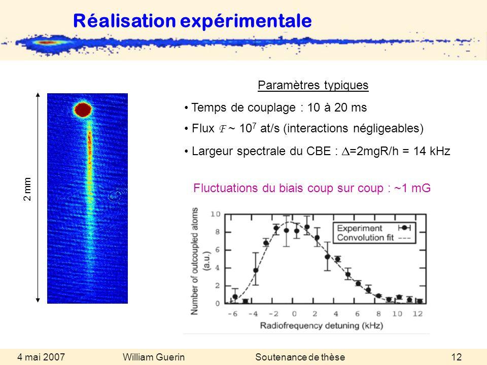 William Guerin 4 mai 2007Soutenance de thèse12 Réalisation expérimentale Paramètres typiques Temps de couplage : 10 à 20 ms Flux F ~ 10 7 at/s (intera