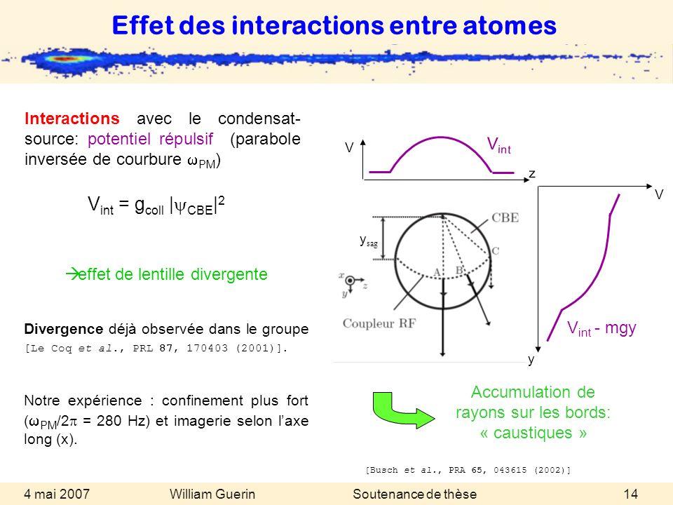 William Guerin 4 mai 2007Soutenance de thèse14 Effet des interactions entre atomes effet de lentille divergente Divergence déjà observée dans le group
