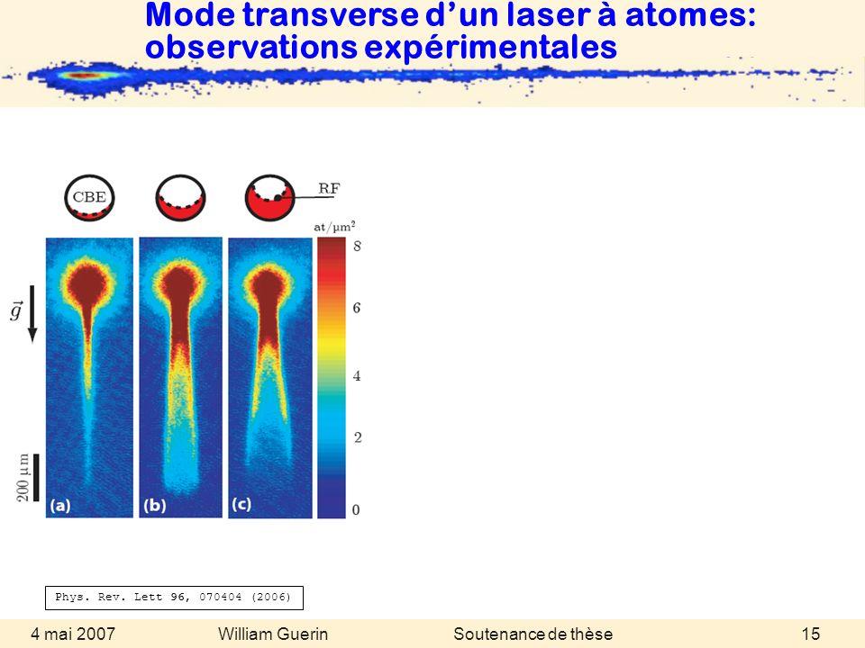 William Guerin 4 mai 2007Soutenance de thèse15 Mode transverse dun laser à atomes: observations expérimentales Phys. Rev. Lett 96, 070404 (2006)