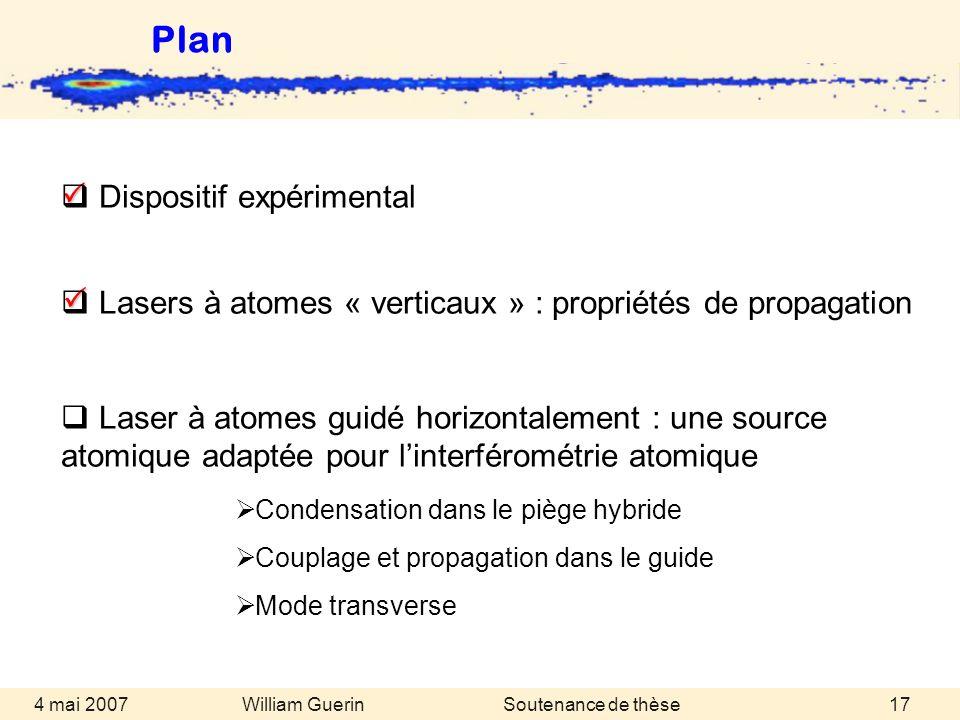 William Guerin 4 mai 2007Soutenance de thèse17 Plan Condensation dans le piège hybride Couplage et propagation dans le guide Mode transverse Dispositi
