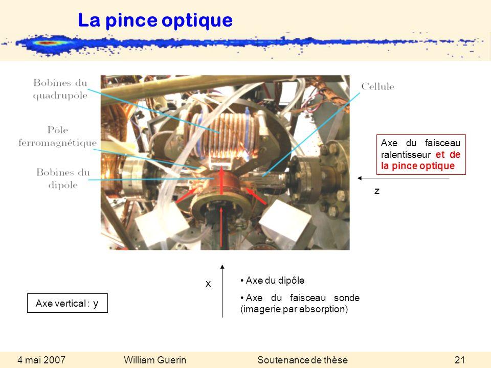 William Guerin 4 mai 2007Soutenance de thèse21 Axe du dipôle Axe du faisceau sonde (imagerie par absorption) x Axe du faisceau ralentisseur et de la p