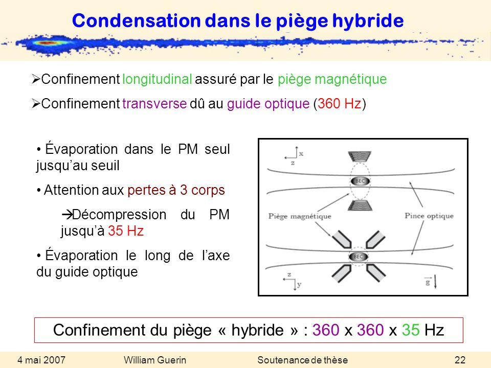 William Guerin 4 mai 2007Soutenance de thèse22 Confinement longitudinal assuré par le piège magnétique Confinement transverse dû au guide optique (360