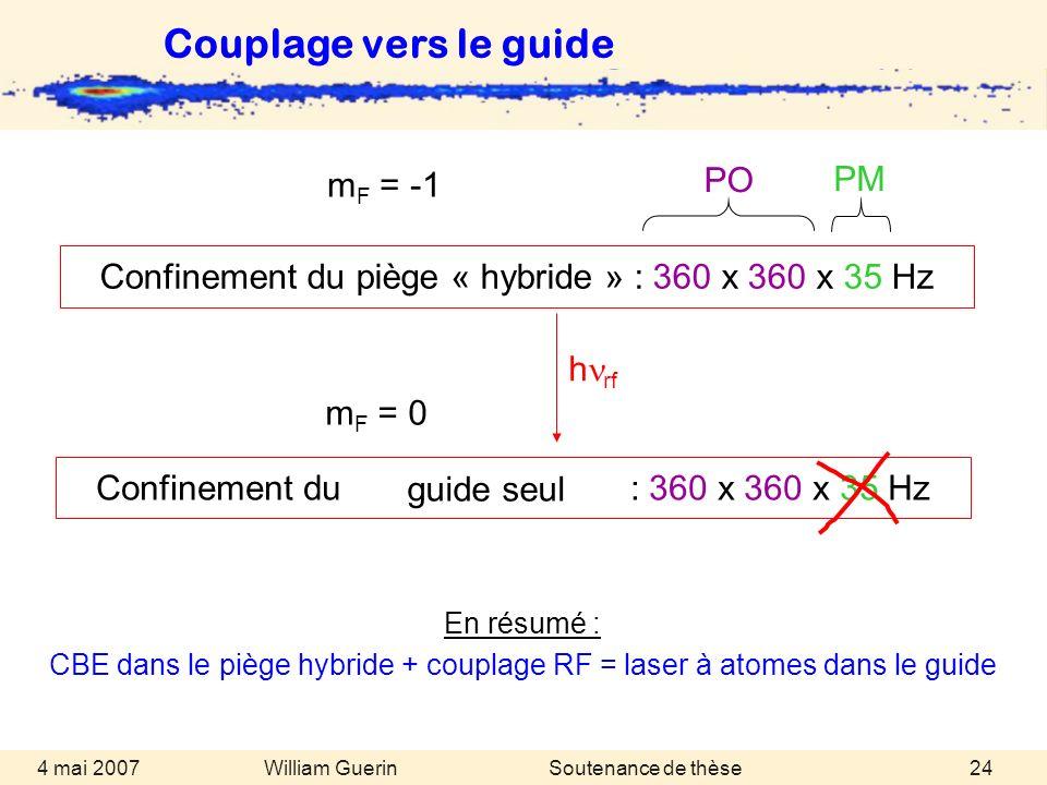 William Guerin 4 mai 2007Soutenance de thèse24 En résumé : CBE dans le piège hybride + couplage RF = laser à atomes dans le guide Couplage vers le gui