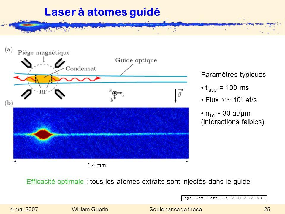 William Guerin 4 mai 2007Soutenance de thèse25 Phys. Rev. Lett. 97, 200402 (2006). Efficacité optimale : tous les atomes extraits sont injectés dans l