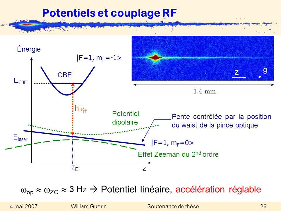 William Guerin 4 mai 2007Soutenance de thèse26 Potentiels et couplage RF op ZQ 3 Hz Potentiel linéaire, accélération réglable | F =1, m F =0> Pente co