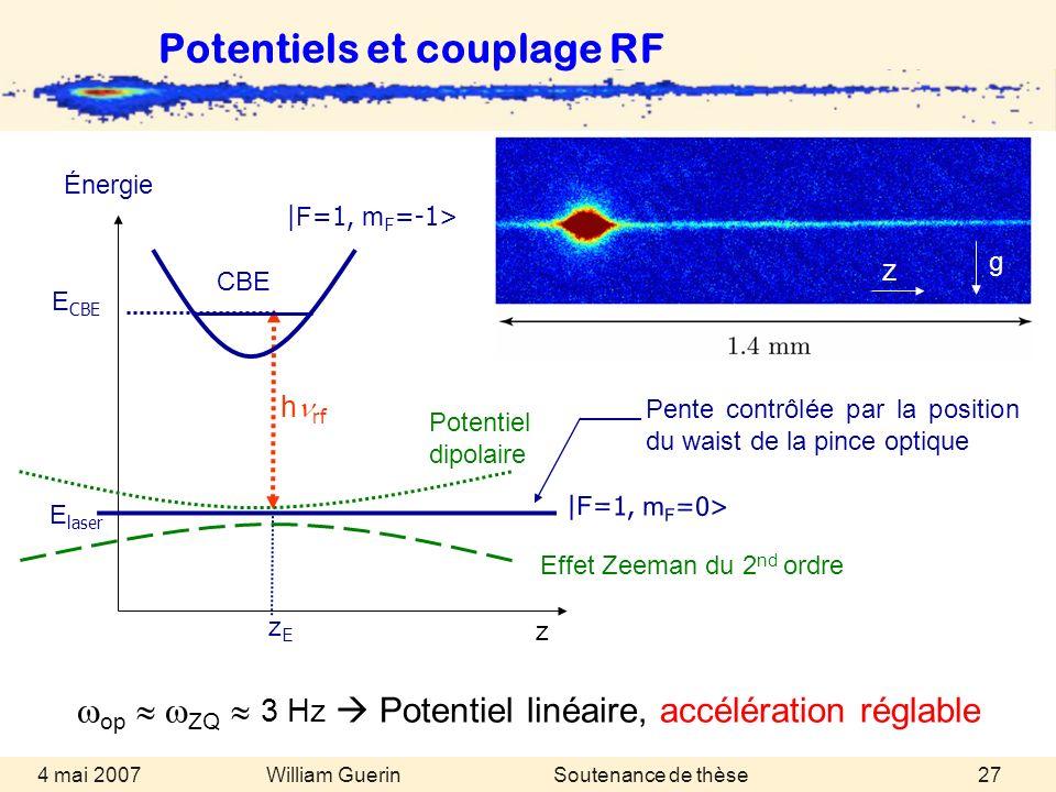 William Guerin 4 mai 2007Soutenance de thèse27 Potentiels et couplage RF op ZQ 3 Hz Potentiel linéaire, accélération réglable | F =1, m F =0> Pente co