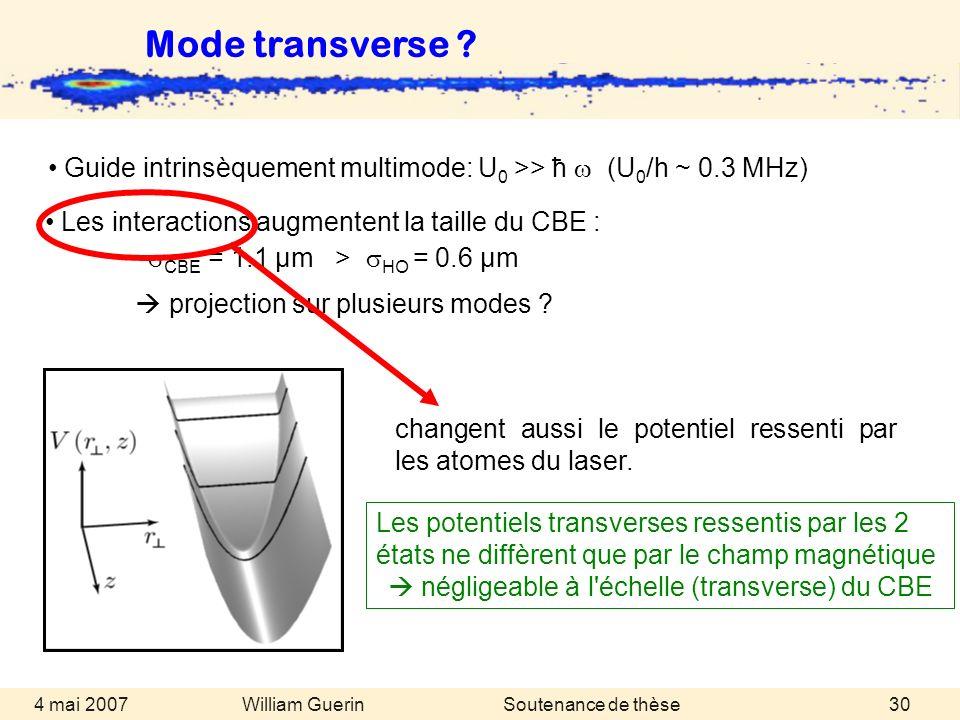 William Guerin 4 mai 2007Soutenance de thèse30 Mode transverse ? Les interactions augmentent la taille du CBE : CBE = 1.1 µm > HO = 0.6 µm projection