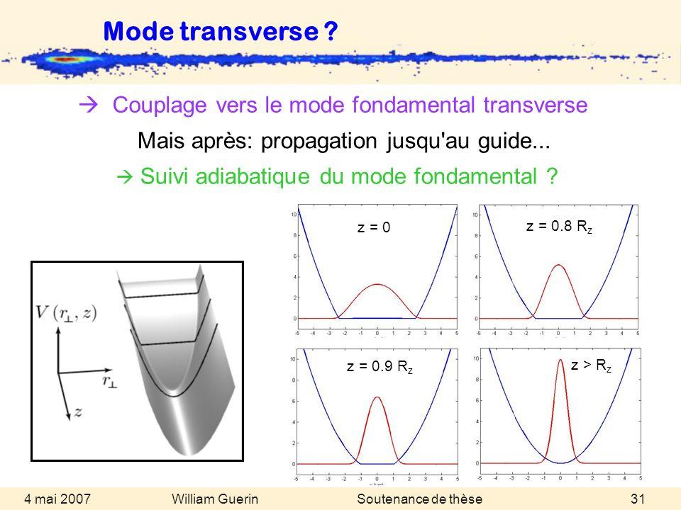 William Guerin 4 mai 2007Soutenance de thèse31 Couplage vers le mode fondamental transverse Mode transverse ? Suivi adiabatique du mode fondamental ?