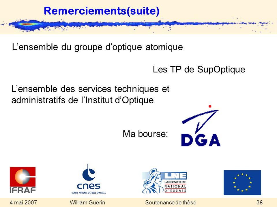 William Guerin 4 mai 2007Soutenance de thèse38 Remerciements(suite) Lensemble du groupe doptique atomique Les TP de SupOptique Lensemble des services