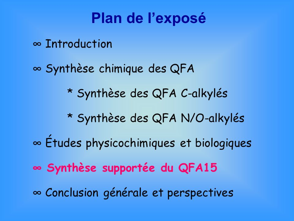 Plan de lexposé Introduction Synthèse chimique des QFA * Synthèse des QFA C-alkylés * Synthèse des QFA N/O-alkylés Études physicochimiques et biologiq