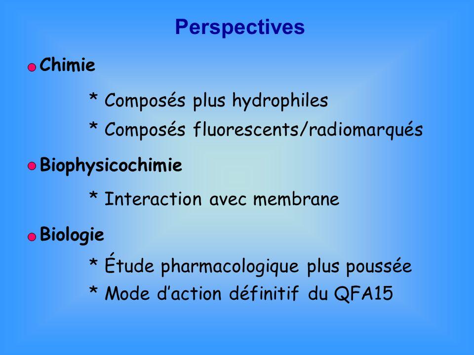 Perspectives * Composés plus hydrophiles * Composés fluorescents/radiomarqués Chimie Biophysicochimie * Interaction avec membrane Biologie * Étude pha