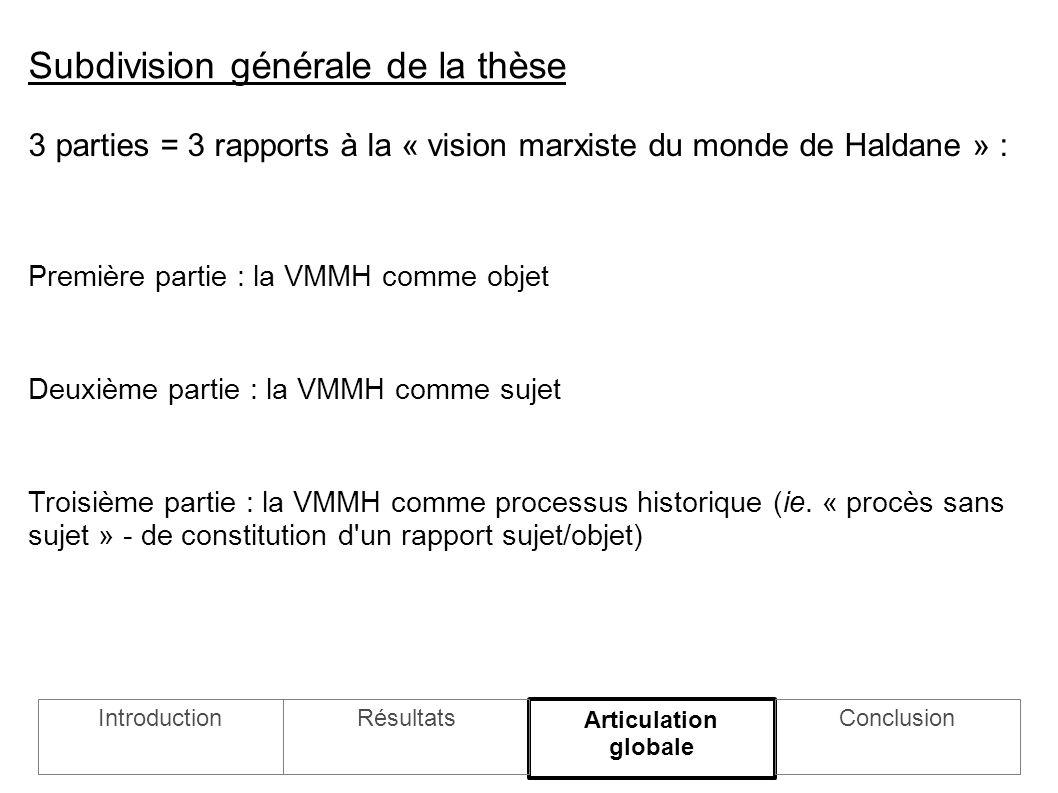 3 parties = 3 rapports à la « vision marxiste du monde de Haldane » : Première partie : la VMMH comme objet Deuxième partie : la VMMH comme sujet Troisième partie : la VMMH comme processus historique (ie.