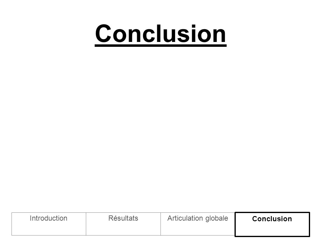 Conclusion IntroductionArticulation globaleRésultats Conclusion