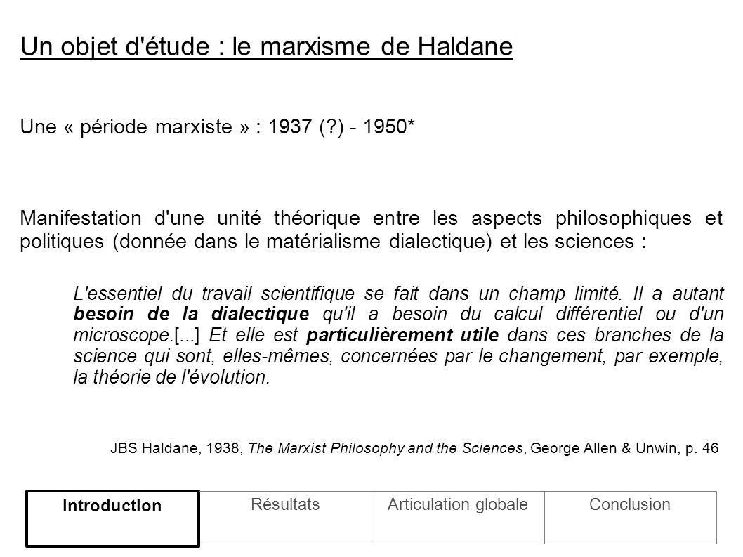 Une « période marxiste » : 1937 ( ) - 1950* Manifestation d une unité théorique entre les aspects philosophiques et politiques (donnée dans le matérialisme dialectique) et les sciences : L essentiel du travail scientifique se fait dans un champ limité.