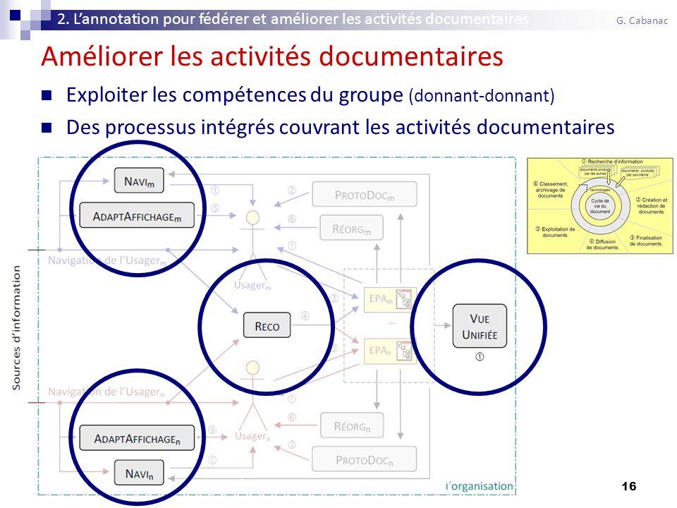 16 Améliorer les activités documentaires Exploiter les compétences du groupe (donnant-donnant) Des processus intégrés couvrant les activités documentaires 2.