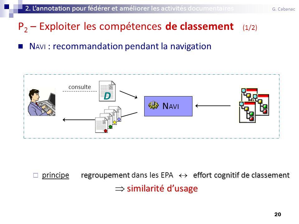 20 P 2 – Exploiter les compétences de classement (1/2) N AVI : recommandation pendant la navigation regroupementeffort cognitif de classement principe regroupement dans les EPA effort cognitif de classement similarité dusage consulte N AVI D 2.