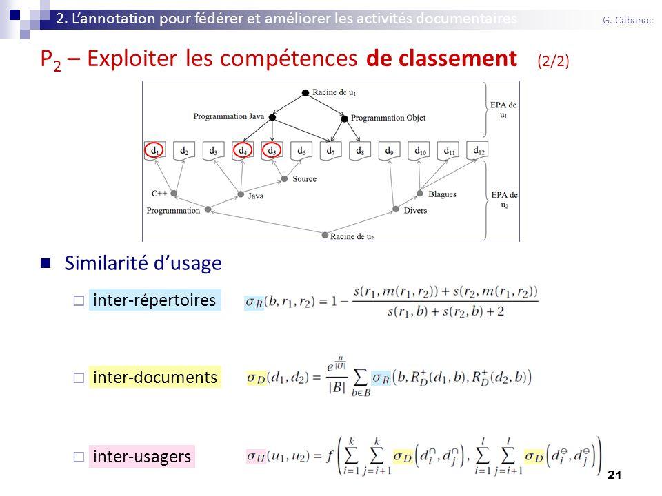21 Similarité dusage inter-répertoires inter-documents inter-usagers P 2 – Exploiter les compétences de classement (2/2) 2.