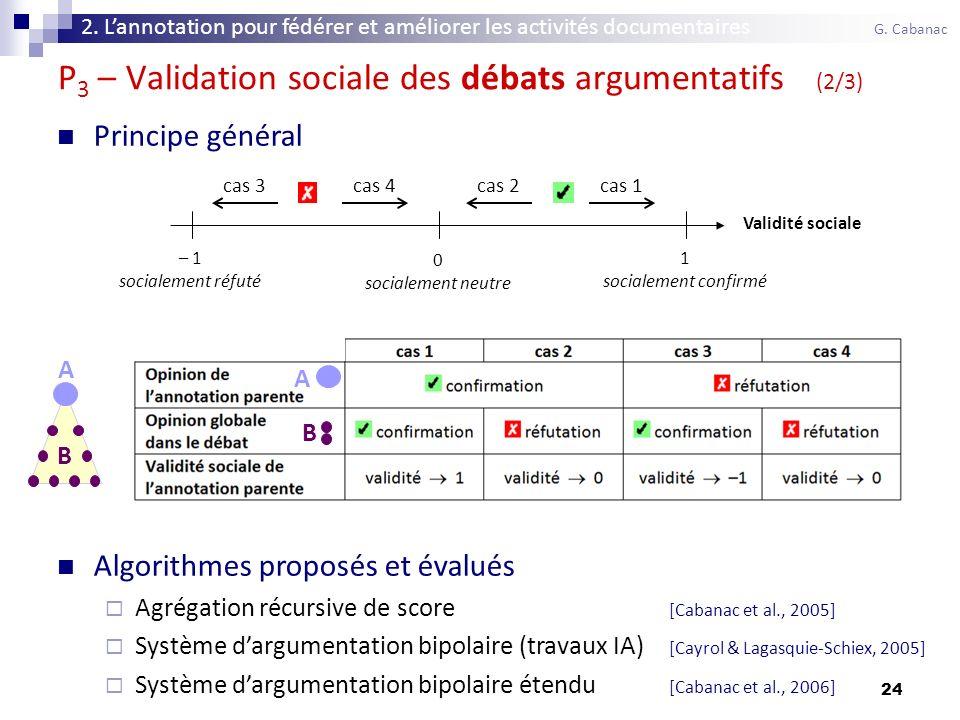 24 Principe général Algorithmes proposés et évalués Agrégation récursive de score [Cabanac et al., 2005] Système dargumentation bipolaire (travaux IA) [Cayrol & Lagasquie-Schiex, 2005] Système dargumentation bipolaire étendu [Cabanac et al., 2006] Validité sociale 0 socialement neutre – 1 socialement réfuté 1 socialement confirmé cas 1cas 2cas 3cas 4 A B A B P 3 – Validation sociale des débats argumentatifs (2/3) 2.