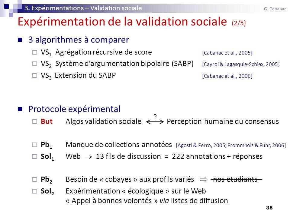 38 3 algorithmes à comparer VS 1 Agrégation récursive de score [Cabanac et al., 2005] VS 2 Système dargumentation bipolaire (SABP) [Cayrol & Lagasquie-Schiex, 2005] VS 3 Extension du SABP [Cabanac et al., 2006] Protocole expérimental ButAlgos validation sociale Perception humaine du consensus Pb 1 Manque de collections annotées [Agosti & Ferro, 2005; Frommholz & Fuhr, 2006] Sol 1 Web 13 fils de discussion = 222 annotations + réponses Pb 2 Besoin de « cobayes » aux profils variés nos étudiants Sol 2 Expérimentation « écologique » sur le Web « Appel à bonnes volontés » via listes de diffusion Expérimentation de la validation sociale (2/5) .