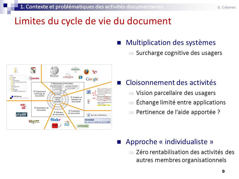 9 Limites du cycle de vie du document Multiplication des systèmes Surcharge cognitive des usagers Cloisonnement des activités Vision parcellaire des usagers Échange limité entre applications Pertinence de laide apportée .