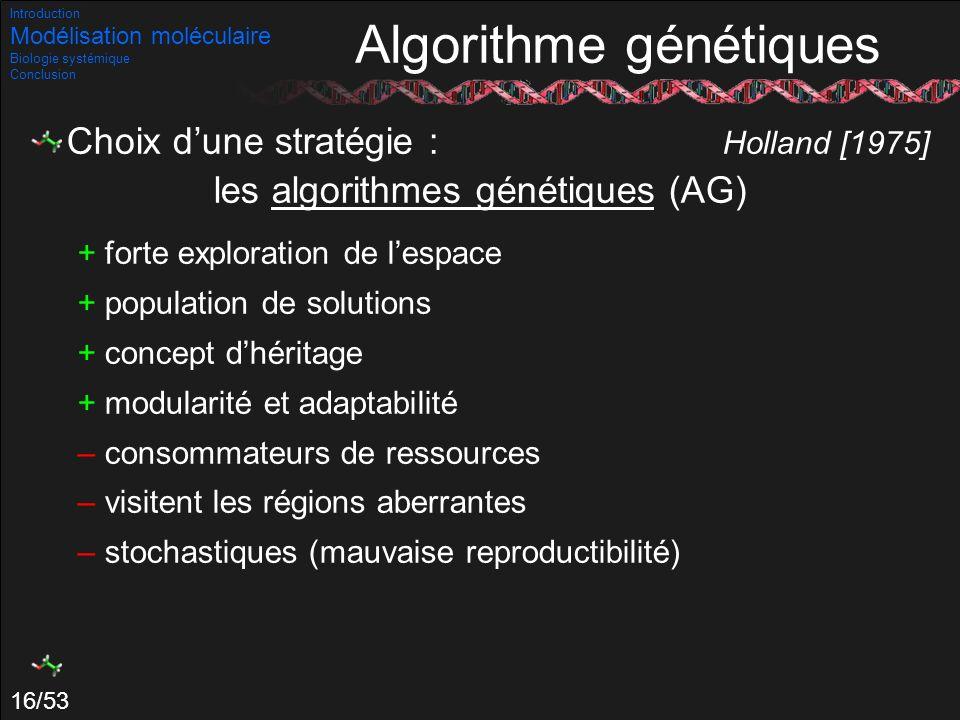 16/53 Choix dune stratégie : Holland [1975] les algorithmes génétiques (AG) + forte exploration de lespace + population de solutions + concept dhérita