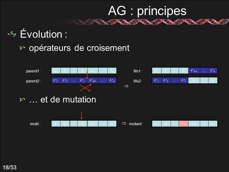 18/53 AG : principes Évolution : opérateurs de croisement … et de mutation … n … i+1 i … n … i parent1 : parent2 : … n … i+1 i muté : … n i+1 i … … n