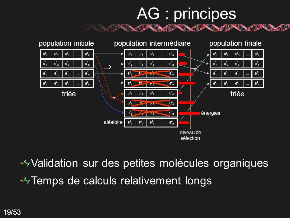 19/53 AG : principes population intermédiaire... n... n... n... n... n... n... n... n aléatoire... n... n... n... n population initiale triée populati