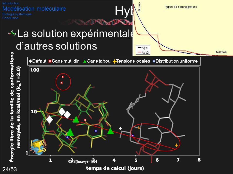 24/53 Hybridations La solution expérimentale est trouvée parmi dautres solutions Introduction Modélisation moléculaire Biologie systémique Conclusion