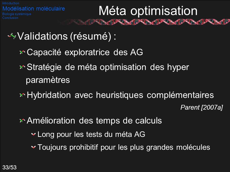33/53 Validations (résumé) : Capacité exploratrice des AG Stratégie de méta optimisation des hyper paramètres Hybridation avec heuristiques complément