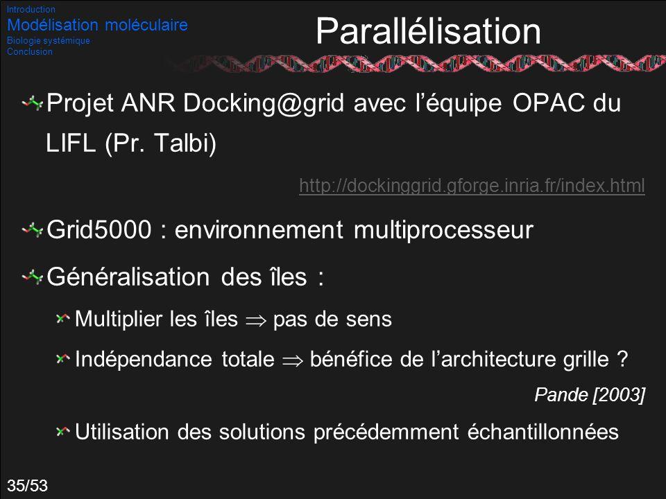 35/53 Parallélisation Projet ANR Docking@grid avec léquipe OPAC du LIFL (Pr. Talbi) http://dockinggrid.gforge.inria.fr/index.html Grid5000 : environne