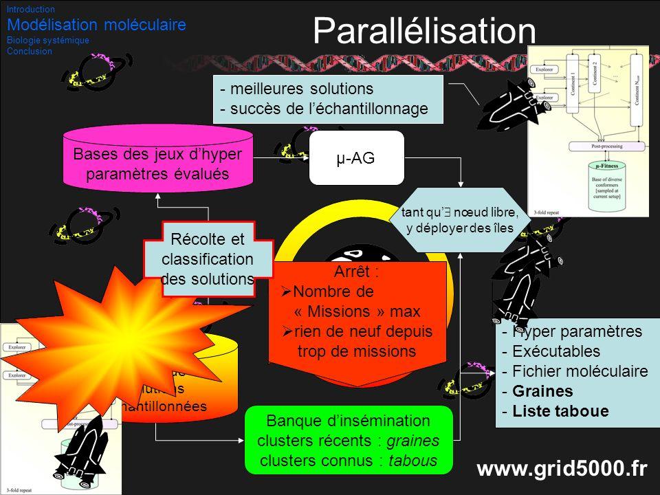 36/53 Parallélisation - Hyper paramètres - Exécutables - Fichier moléculaire - Graines - Liste taboue - meilleures solutions - succès de léchantillonn