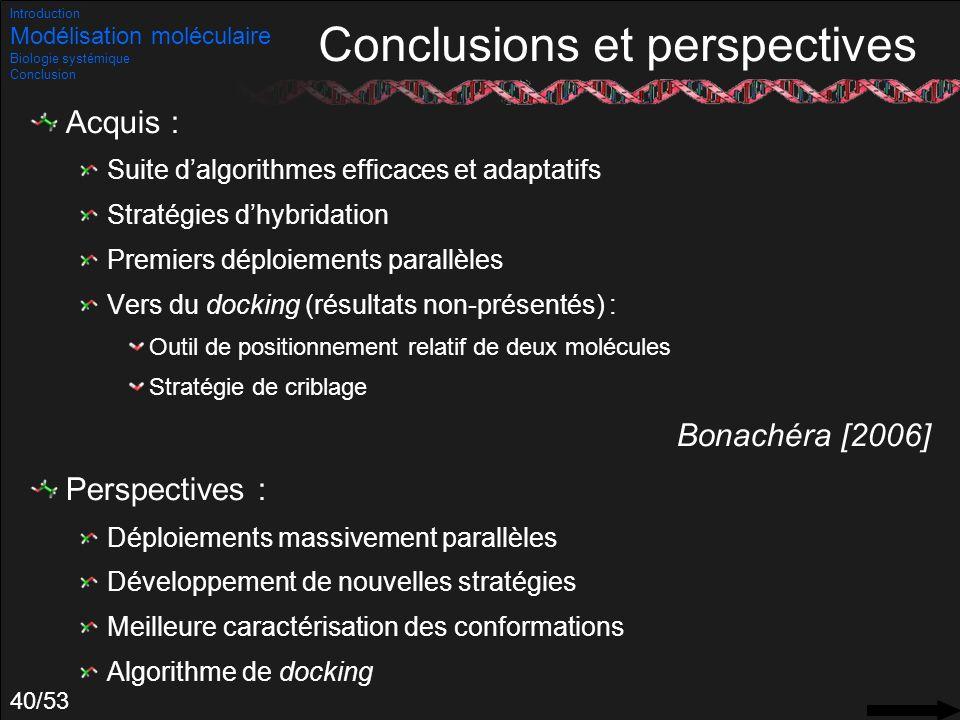 40/53 Conclusions et perspectives Acquis : Suite dalgorithmes efficaces et adaptatifs Stratégies dhybridation Premiers déploiements parallèles Vers du