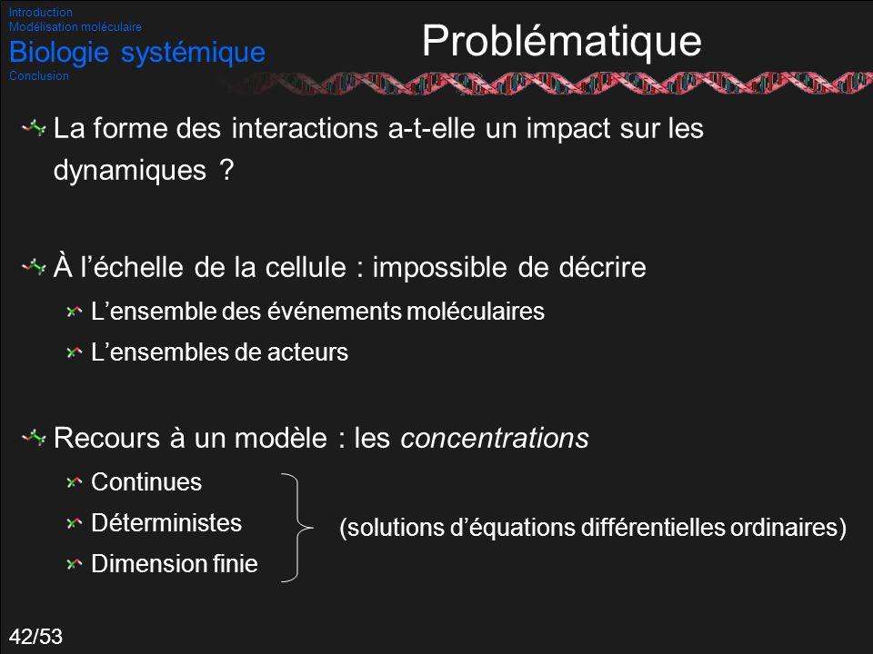 42/53 Problématique La forme des interactions a-t-elle un impact sur les dynamiques ? À léchelle de la cellule : impossible de décrire Lensemble des é