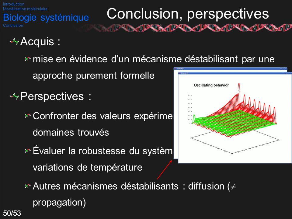 50/53 Conclusion, perspectives Acquis : mise en évidence dun mécanisme déstabilisant par une approche purement formelle Perspectives : Confronter des