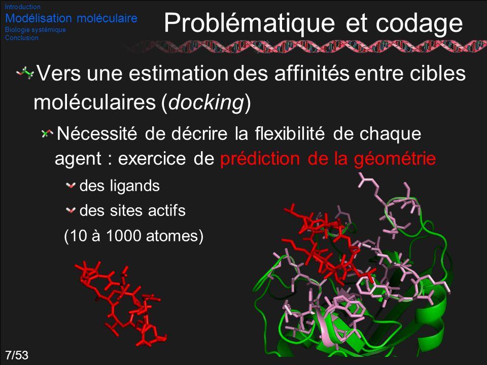 48/53 Exemple : Michaëlis- Menten f(p)=a.p/(b+p) Beaucoup utilisée Il est possible de remonter aux domaines de paramètres générant des oscillations : Introduction Modélisation moléculaire Biologie systémique Conclusion