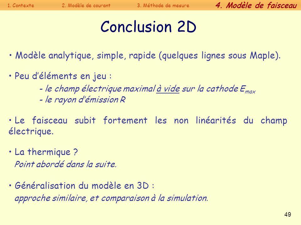 49 Conclusion 2D Le faisceau subit fortement les non linéarités du champ électrique. La thermique ? Point abordé dans la suite. Généralisation du modè
